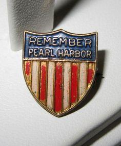 WWII Remember Pearl Harbor Pin Patriotic Sweetheart Red White Blue Enamel WW2 kbcate on ebay