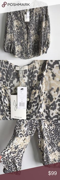 NWT Joie szM Purine silk Top in gray/tan/white NWT Joie szM Purine 100% silk Top in gray/tan/white print...last pict is to show Fit... Joie Tops