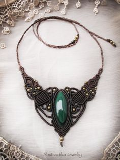 Steampunk macrame necklace with malachite by AbstractikaCrafts