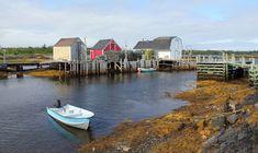 "Blue Rocks is a quiet fishing ""village"" a few kilometres outside of Lunenburg, Nova Scotia. Oak Island Nova Scotia, Lunenburg Nova Scotia, East Coast Canada, Nova Scotia Travel, Acadie, East Coast Travel, Atlantic Canada, Prince Edward Island, New Brunswick"