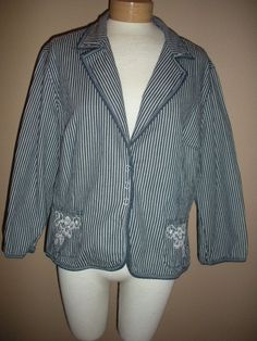 Ruby Rd Pin Striped Jean Jacket Embroidered Beaded Pockets Womens Sz 16 #RubyRd #JeanJacket