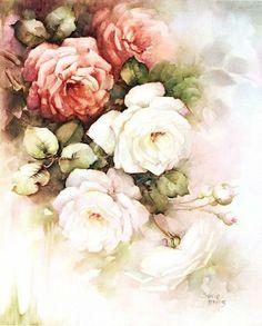 Цветочная нежность от Sonie Ames (декупажное). Обсуждение на LiveInternet - Российский Сервис Онлайн-Дневников Decoupage Vintage, Vintage Diy, Floral Vintage, Vintage Roses, Wonderful Flowers, Beautiful Roses, Flower Of Life, Flower Art, Yellow Roses