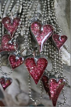 Bling for Valentine's Day! Heart Jewelry, Resin Jewelry, Diy Jewelry, Jewelery, Jewelry Making, Heart Necklaces, Jewelry Ideas, I Love Heart, Happy Heart