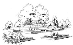Section Drawing Architecture, Architecture Drawing Sketchbooks, Architect Drawing, Architecture Sketches, Landscape Sketch, Landscape Drawings, Landscape Art, Landscape Design, Cityscape Drawing