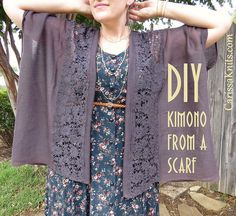 DIY Kimono refashioned from a scarf by CarissaKnits