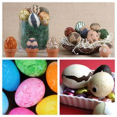 Easy Easter Egg Crafts  Especially like the idea of painted and chocolate filled eggs.
