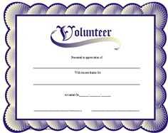 A printable volunteer certificate with a blue scalloped border reminiscent of seashells. Free to download and print