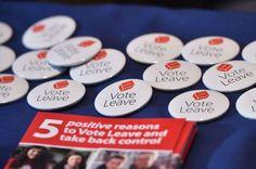 Vote leave EU badges on display. Brexit Eu, Vote Leave, Citizen, Badges, Britain, Crime, Leaves, Display, Floor Space