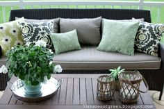 porch furniture -- tan and green