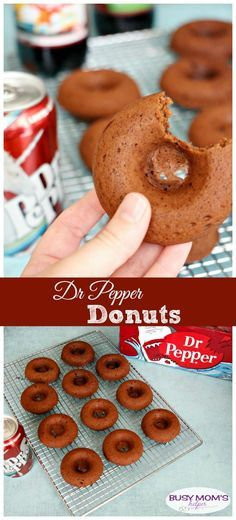 These delicious & easy-to-make Dr Pepper Donuts are perfect for a summer party, gathering or any occasion, especially with the fun limited edition labels! Donut Recipes, Baking Recipes, Cake Recipes, Snack Recipes, Dessert Recipes, Pasta Recipes, Breakfast Recipes, Yummy Snacks, Yummy Treats