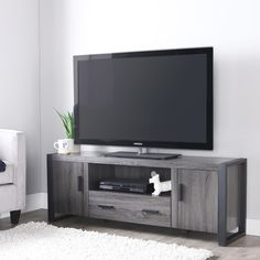 60 inch Charcoal Grey TV Stand 	22 in. H x 60 in. W x 16 in. D