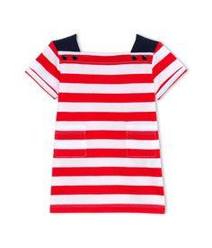 Robe bébé fille à rayures rouge Vermeil / blanc Ecume - Petit Bateau