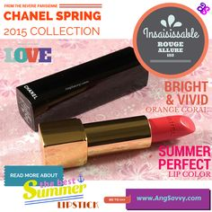 No Summertime Sadness with this new Chanel Rouge Allure. This vivid coral lipstick will fill your summer day with happiness. http://www.angsavvy.com/chanel-insaisissable-rouge-allure-152