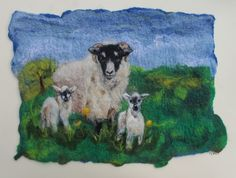 Spring Lambs, felted picture, mounted ready to frame by GardenGalleryDerbys on…