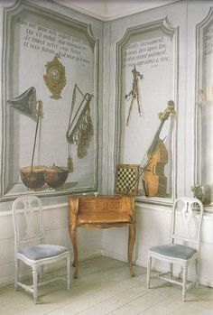 A musical Trompe l'oeil in one of the rooms with a Rococo Bonheur du Jour Akerö in Södermanland, Sweden