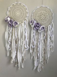 White and lavender boho dream catchers. Shabby chic Bohemian bridal or baby shower decor. Purple white and cream dream catcher with lace and crochet.