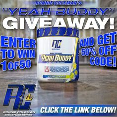 """Ronnie Coleman's new pre-workout """"YEAH BUDDY"""" is in stock.  Click to get a 50% OFF discount code!"""