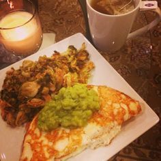@The Official 21 Day Sugar Detox Dinner on Day 10 of Level 3 - ginger tea, guacamole omelet, & coconut amino brussels