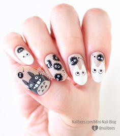 Totoro Inspired Nail Art - Uñas kawaii- - New Ideas Kawaii Nail Art, Cute Nail Art, Nail Art Diy, Cute Nails, Korean Nail Art, Korean Nails, Cute Acrylic Nail Designs, Cute Acrylic Nails, Minimalist Nails