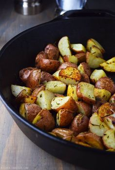 Roasted red potatoes with garlic and rosemary are the perfect pairing with red meat.