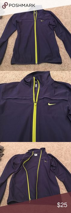 NIKE drifit zip up great condition, no rips or stains..deep plum color with lime green zippers..drifit material Nike Tops Sweatshirts & Hoodies