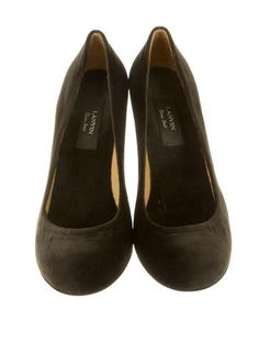 Olive brown velvet Lanvin round-toe pumps with covered heels. Includes dust bag.