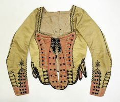 Bodice, ca. Spanish, silk, Bodice 1790 The Metropolitan Museum of Art 18th Century Clothing, 18th Century Fashion, 17th Century, Vintage Outfits, Vintage Fashion, Vintage Style, 18th Century Costume, Olive Green Dresses, Period Outfit