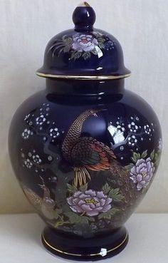 Vintage Cobalt Blue Japanese Ginger Jar with Peacocks & Chrysanthemums Motif Japanese Ginger, Japanese Love, Chrysanthemums, Ginger Jars, Porcelain Ceramics, Peacocks, Cobalt Blue, Vietnam, Color Schemes