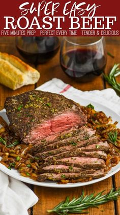 This Easy Top Round Roast Beef Recipe is going to become a regular in your house after you see how easy it is to make. With only five minutes of preparation time and the most perfect flavor, your family will love this easy roast beef recipe. Bottom Round Roast Recipes, Beef Top Round Roast Recipe, Bottom Round Roast Oven, Roast Beef For Two, Outside Round Roast, Top Sirloin Roast Recipe, Roast Beef Marinade, Beef Top Round Steak, Best Roast Beef