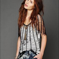 """Free People Statement Beaded Top NWOT Gorgeous 1920's inspired loose knit beaded top. Length 23.5"""". Bust (all around) 29"""". Sleeve length 10.5"""". Free People Tops Tank Tops"""