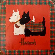 Vintage Harrods Scottie Dogs Coaster Tartan Border by PROPZ