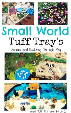 Small World hands on learning. Small World Tuff Spot. Fun sensory activities for kids. Outdoor activities for kids. Tuff spot fun for kids. Learning and Exploring Through Play.