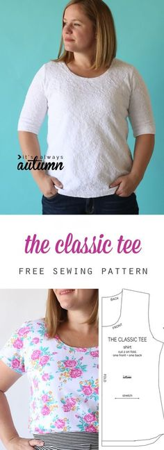 Get the free sewing pattern for a classic tee shirt and learn how easy it is to sew a t-shirt.