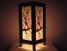 Thai-Vintage-Handmade-Asian-Oriental-Japanese-Sakura-Flower-Bedside-Table-Light
