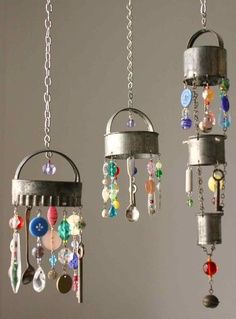 Wind chimes made from old cookie cutters, plastic beads & buttons, and teaspoons, etc.