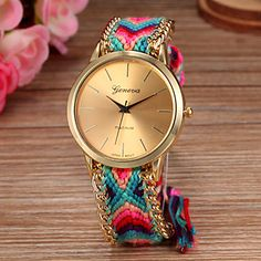 Women Big Circle Dial National Hand Knitting Brand Luxury Lady Watch C&D-278 - USD $ 5.99
