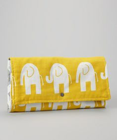 Look at this #zulilyfind! Yellow & White Elephant Diaper Clutch by Brownie Gifts #zulilyfinds