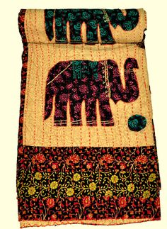 TWIN BEDSPREAD KANTHA TAPESTRY ELEPHANT PATCH HANDMADE QUILT INDIA DECORATIVE | eBay