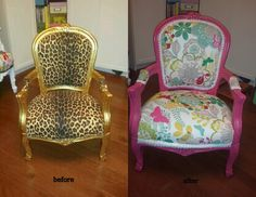 recovered chair....need this for my craft room.