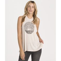The Sea Is Calling Tank (€13) ❤ liked on Polyvore featuring tops, almond, t-shirt/prints, graphic tops, relaxed fit tank top, print tank top, crew neck tops and billabong tank tops