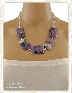 The Aimee Necklace - Dogtooth amethyst, known for its beautiful patterns and vivid purple hues, creates a stunning gemstone statement piece!  Pair this outstanding necklace with a white blouse or black dress for a look that's sophisticated and elegant.
