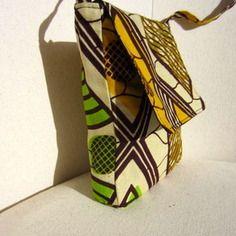 Sac tissu wax motif africain vert marron et jaune (envoi 0€)