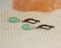 Tiny Dangle Earrings, Aventurine Earrings, Lever Back Earrings, Light Green Earrings, Green Drop Earrings by BirchBarkDesign on Etsy
