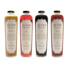"""ALTAR Variety Set Of 4, $69 ALTAR is a Herbal & Botanical Mood Mixer, meant to be enjoyed alone as a signature """"Herbal Martini,"""" or paired with fine spirits. Each ingredient has been harvested and procured in order to alter—eh?—the mood of the drinker. This Variety Pack offers four delicious concoctions: Chi (which gives you energy and vigor); Aphrodisiac (which makes you feel very sexy indeed); Chill (which helps you chillax); and Bliss (which helps you follow yours.)"""