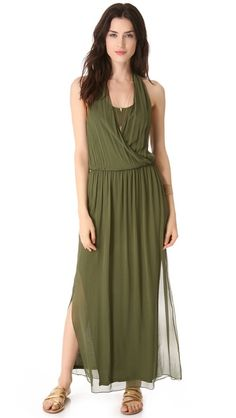 alice + olivia Mora Wrap Front Halter Dress Deep Ivy Your Products Finder Day Dresses, Nice Dresses, Summer Dresses, Formal Dresses, Look Fashion, Fashion Outfits, Halter Gown, Green Dress, Ivy
