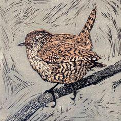 Wren 2 - linocut 2010 - Vanessa Lubach, U. Woodcut Art, Linocut Prints, Art Prints, Block Prints, Bird Artwork, Wood Engraving, Print Artist, Woodblock Print, Graphic Illustration