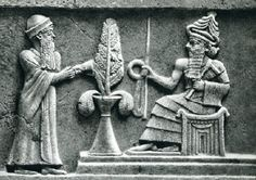 "Ur-Namma and the god Enlil with the Tree of Life between them. Detail from the ""Ur-Namma Stele"". Ur"