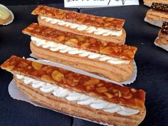 Eclairs St Honore - Choux pastry filled with Madagascan vanilla creme patissiere and creme Chantilly, topped with almond nougatine (Eponine Patisserie & Chocolaterie)