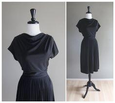 Lovely Draped Cowl Collar Vintage 1970s Black Evening Dress / Bohemian Glam / Rockabilly Pinup 1940s Mad Men / LBD