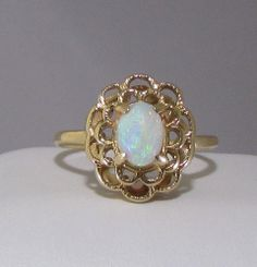 Vintage 14K Yellow Gold Opal Ring  Lovely by Ringtique on Etsy, $195.00